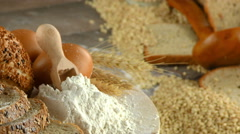 Bread Flour Wheat Egg Food Concept Stock Footage