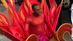 Colorful costumes, Menton lemon Festival, France Stock Footage