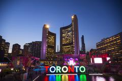 TORONTO,CANADA-JULY 9,2015: The new Toronto sign in Nathan Phillips Square ce Stock Photos