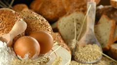 Bread Flour Wheat Egg Food Concept Stock Footage
