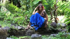Beautiful hippie girl relaxed in Bali, Indonesia Stock Footage