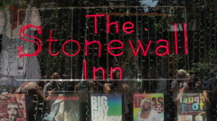 Stonewall Inn Gay Bar , New York City , Historic Marriage Equality Ruling. - stock footage