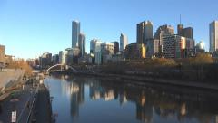 Melbourne Yarra river early morning light Stock Footage