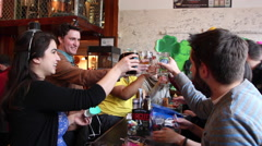 Stock Video Footage of Group Cheers and Drink