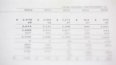 Financial statements of a company and the figures ( numbers ) passing - stock footage