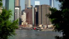 Boat Pass NYC Skyline 01 HD - stock footage
