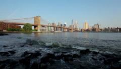 Brooklyn Bridge On A Sunny Day From Brooklyn Bridge Park In New York City HD Stock Footage