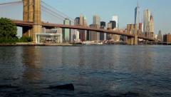 Brooklyn Bridge As Seen From Across The East River In Brooklyn Bridge Park HD Stock Footage