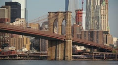 Brooklyn Bridge With Portion Of Manhattan Skyline In Background On Sunny Day HD - stock footage
