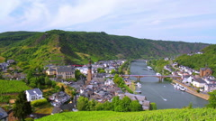 View of the small German town Cochem. Stock Footage