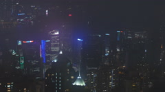 Pan of HK skyscrapers with famous light show 4K Stock Footage