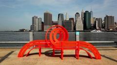 Fun Bench In Brooklyn Bridge Park Stock Footage