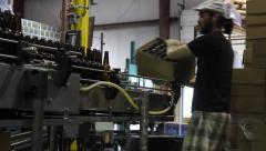 Factory Worker at Bottling Plant Stock Footage