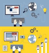 Web development and blogging design Stock Illustration
