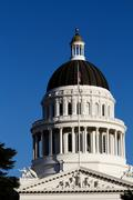 California State Capitol Building Dome Against Blue Sky Stock Photos