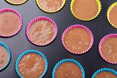 Preparation of chocolate muffins Stock Photos