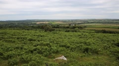 The Gower peninsula view of Welsh countryside from Ryers Down Wales UK Stock Footage
