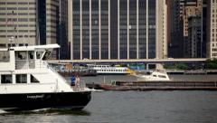 Boats Sail Along East River in NYC HD - stock footage