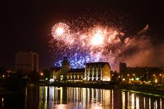 Fireworks over the Fishing Village in Kaliningrad - stock photo
