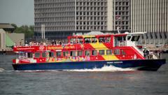 New York City Tourist Boat Passing Manhattan Shore Stock Footage