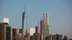 One World Trade Center Next To Gehry Building In New York City Stock Footage