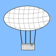 Stock Illustration of Airship with a basket for Aeronautics retro style