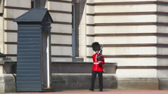 Queen's Guard at the Buckingham palace in London, UK Stock Footage