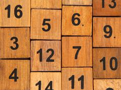wooden puzzle, isolated image - stock photo