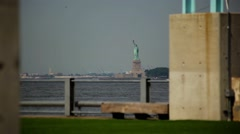 Statue of Liberty As Seen From Brooklyn Bridge Park Stock Footage