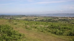 The Gower peninsula Wales UK Welsh countryside from Cefn Bryn hill Stock Footage