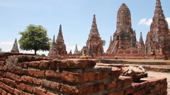Dolly:The Buddhist stupas of temple,thailand Stock Footage