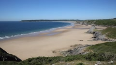 Coast and beach Three Cliff Bay the Gower Peninsula Stock Footage