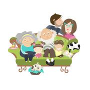Happy family with mother dad son daughter grandfather and grandmother - stock illustration
