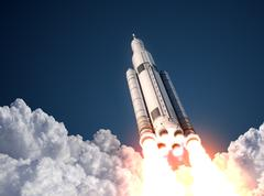 Space Launch System Takes Off - stock photo