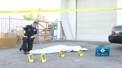 Police Body Bag Assesment Stock Footage