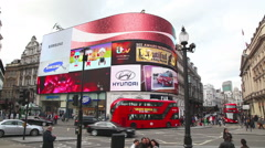 Piccadilly Circus junction crowded by people - stock footage