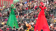 Lady Giants, Nice Carnival, France Stock Footage
