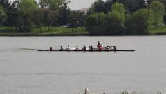 Rowing Team on the River Stock Footage