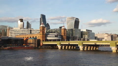 Financial district of London city on a sunny day Stock Footage