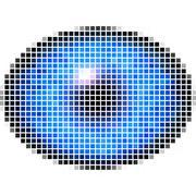 Pixel maping of elliptic eye with blue iris, light reflection in eye Stock Illustration