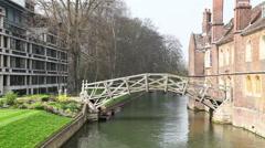 Mathematical bridge at the Queens College in Cambridge, United Kingdom Stock Footage