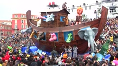 Noah's Ark float, Nice Carnival, France Stock Footage