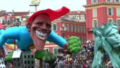 Obama Float, Nice Carnival Parade, France Stock Footage