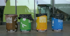Multicolored Containers for Separate Waste Collection Stock Footage