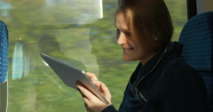 Woman Staying in Touch on the Way Stock Footage