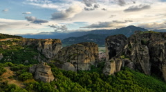 Meteora Sunset Pan Stock Footage