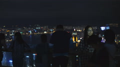 Posing for photograph on the Peak in Hong Kong 4K Stock Footage