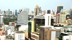 Day to night timelapse Bangkok city buildings Sathon Stock Footage