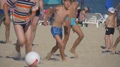 Children Take Part in Festival of Beach Games Stock Footage