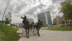 Sculpture Park Time Lapse, Horses Stock Footage